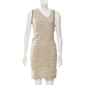 Yigal Azrouël beige dress with leather trim